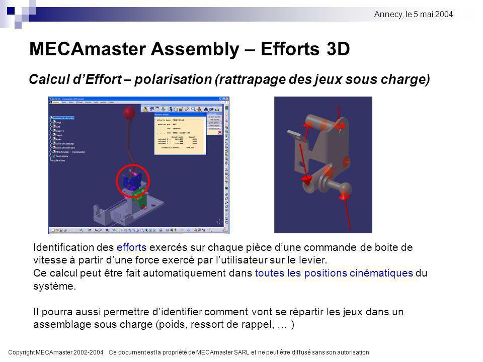 Copyright MECAmaster 2002-2004 Ce document est la propriété de MECAmaster SARL et ne peut être diffusé sans son autorisation Annecy, le 5 mai 2004 MEC