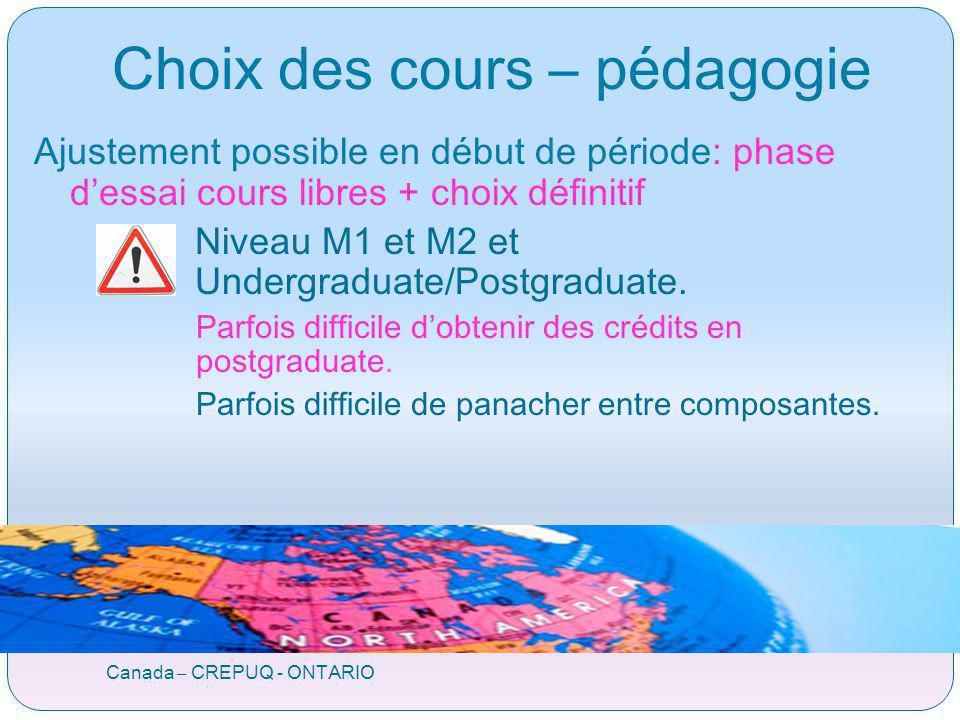 Canada – CREPUQ - ONTARIO Choix des cours – pédagogie Ajustement possible en début de période: phase dessai cours libres + choix définitif Niveau M1 et M2 et Undergraduate/Postgraduate.