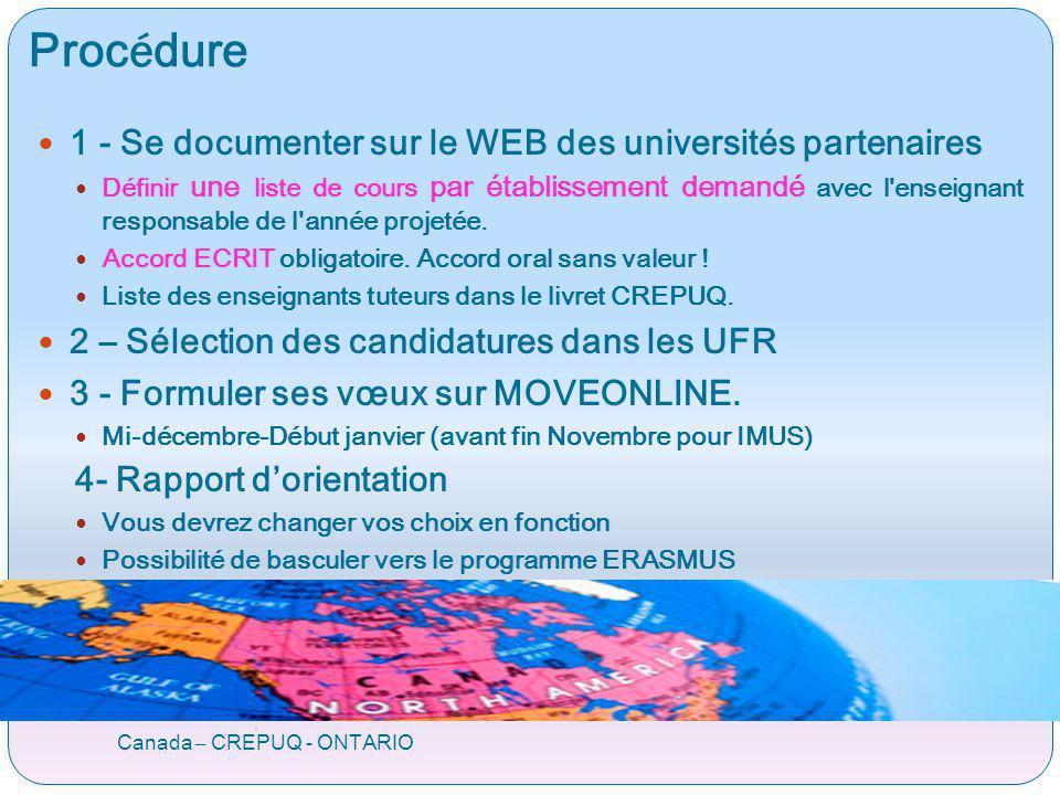 Proc é dure Canada – CREPUQ - ONTARIO 1 - Se documenter sur le WEB des universités partenaires Définir une liste de cours par établissement demandé av