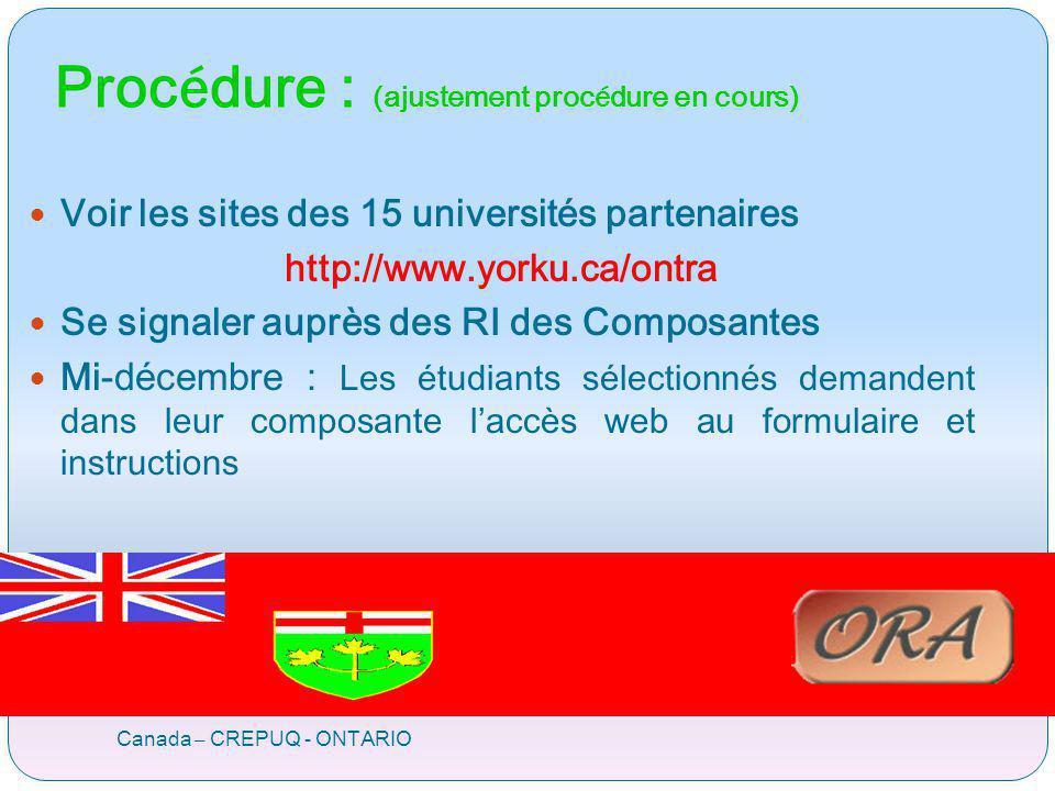 Proc é dure : (ajustement proc é dure en cours) Canada – CREPUQ - ONTARIO Voir les sites des 15 universités partenaires http://www.yorku.ca/ontra Se s
