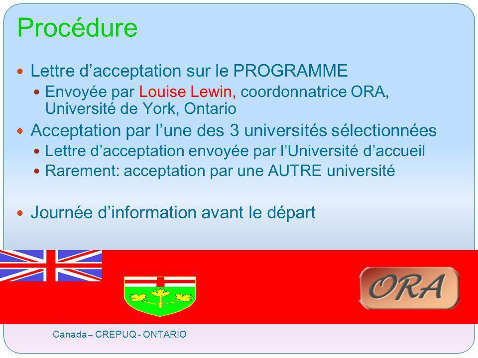 Procédure Canada – CREPUQ - ONTARIO Lettre dacceptation sur le PROGRAMME Envoyée par Louise Lewin, coordonnatrice ORA, Université de York, Ontario Acc