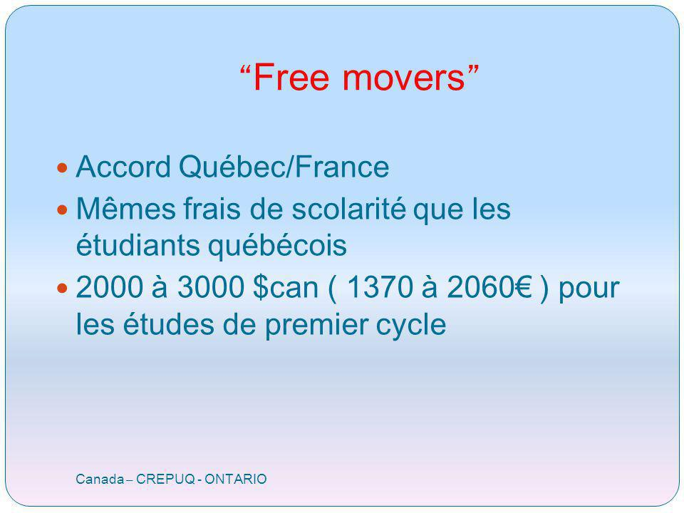 Free movers Canada – CREPUQ - ONTARIO Accord Québec/France Mêmes frais de scolarité que les étudiants québécois 2000 à 3000 $can ( 1370 à 2060 ) pour