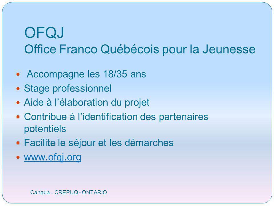 OFQJ Office Franco Québécois pour la Jeunesse Canada – CREPUQ - ONTARIO Accompagne les 18/35 ans Stage professionnel Aide à lélaboration du projet Con