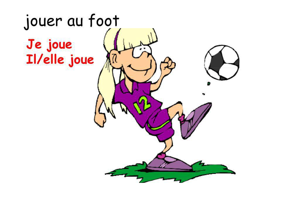 jouer au foot Je joue Il/elle joue