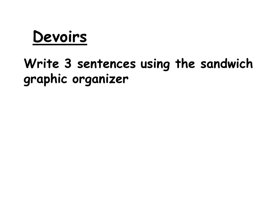 Devoirs Write 3 sentences using the sandwich graphic organizer