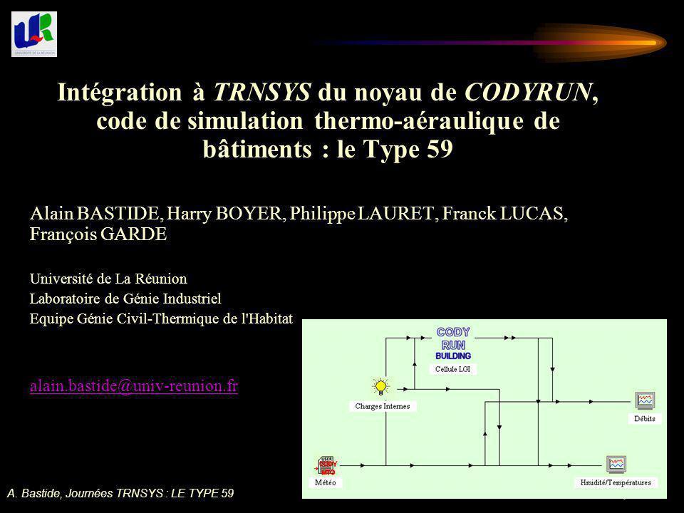 A. Bastide, Journées TRNSYS : LE TYPE 59 1 Intégration à TRNSYS du noyau de CODYRUN, code de simulation thermo-aéraulique de bâtiments : le Type 59 Al