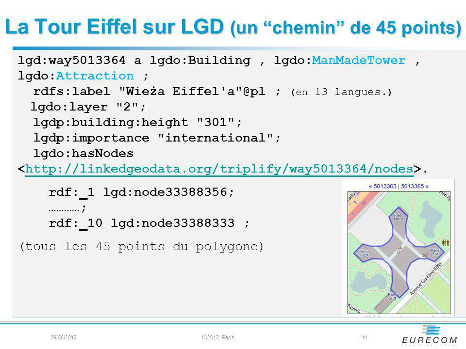 La Tour Eiffel sur LGD (un chemin de 45 points) - 14 lgd:way5013364 a lgdo:Building, lgdo:ManMadeTower, lgdo:Attraction ; rdfs:label