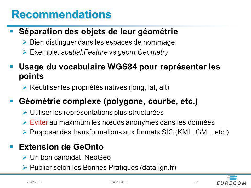 Recommendations Séparation des objets de leur géométrie Bien distinguer dans les espaces de nommage Exemple: spatial:Feature vs geom:Geometry Usage du vocabulaire WGS84 pour représenter les points Réutiliser les propriétés natives (long; lat; alt) Géométrie complexe (polygone, courbe, etc.) Utiliser les représentations plus structurées Eviter au maximum les nœuds anonymes dans les données Proposer des transformations aux formats SIG (KML, GML, etc.) Extension de GeOnto Un bon candidat: NeoGeo Publier selon les Bonnes Pratiques (data.ign.fr) - 22IC2012, Paris29/06/2012IC2012, Paris
