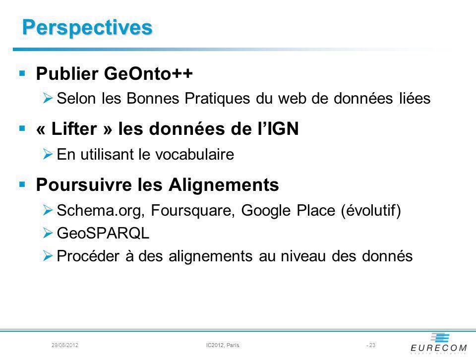 Perspectives Publier GeOnto++ Selon les Bonnes Pratiques du web de données liées « Lifter » les données de lIGN En utilisant le vocabulaire Poursuivre les Alignements Schema.org, Foursquare, Google Place (évolutif) GeoSPARQL Procéder à des alignements au niveau des donnés - 23IC2012, Paris29/06/2012IC2012, Paris