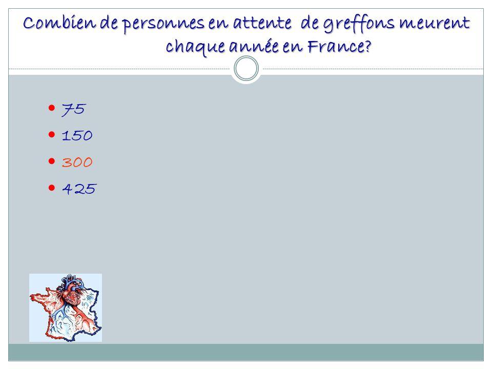 Combien de personnes en attente de greffons meurent chaque année en France? 75 150 300 425