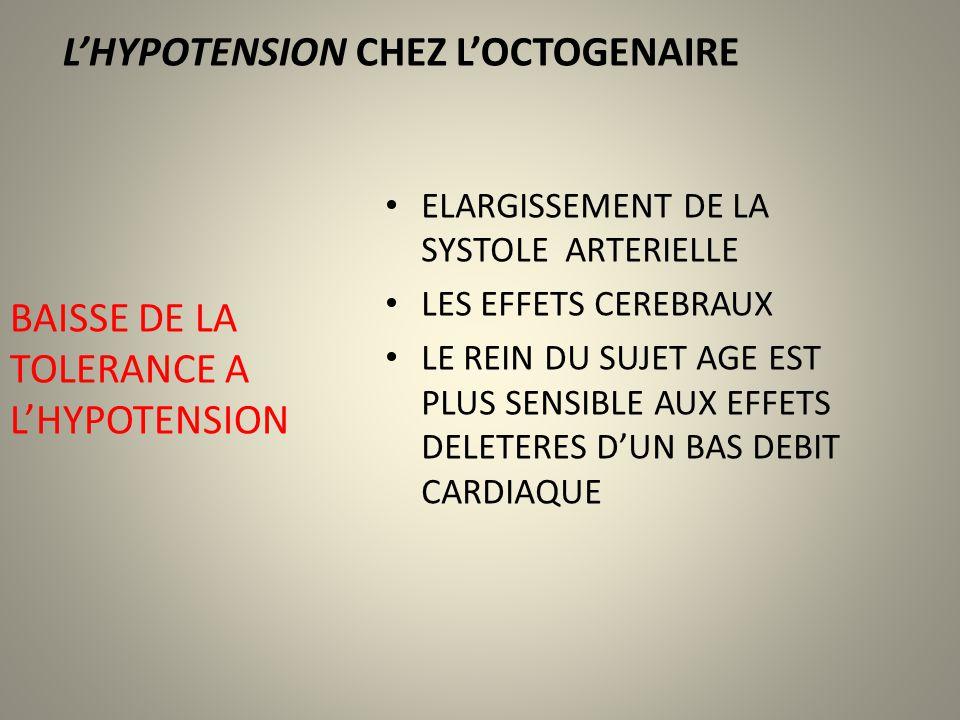 LHYPOTENSION CHEZ LOCTOGENAIRE ELARGISSEMENT DE LA SYSTOLE ARTERIELLE LES EFFETS CEREBRAUX LE REIN DU SUJET AGE EST PLUS SENSIBLE AUX EFFETS DELETERES