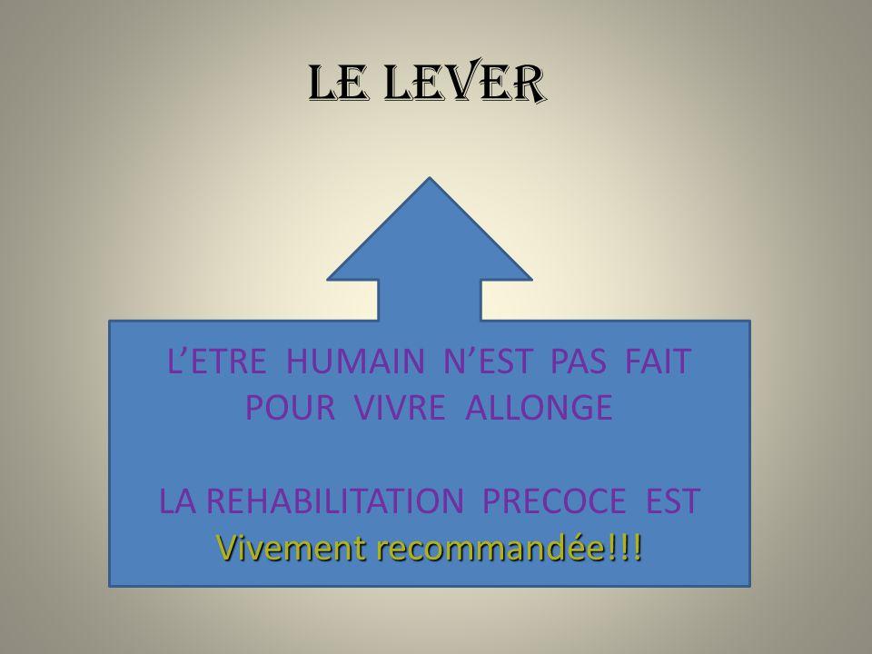 LE LEVER LETRE HUMAIN NEST PAS FAIT POUR VIVRE ALLONGE LA REHABILITATION PRECOCE EST Vivement recommandée!!!