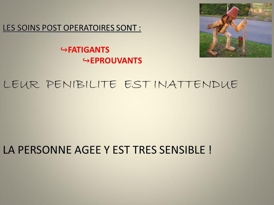 LES SOINS POST OPERATOIRES SONT : FATIGANTS EPROUVANTS LEUR PENIBILITE EST INATTENDUE LA PERSONNE AGEE Y EST TRES SENSIBLE !
