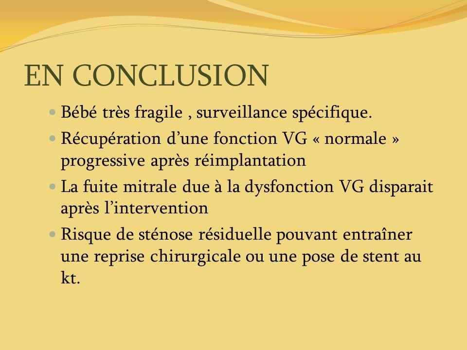 EN CONCLUSION Bébé très fragile, surveillance spécifique. Récupération dune fonction VG « normale » progressive après réimplantation La fuite mitrale