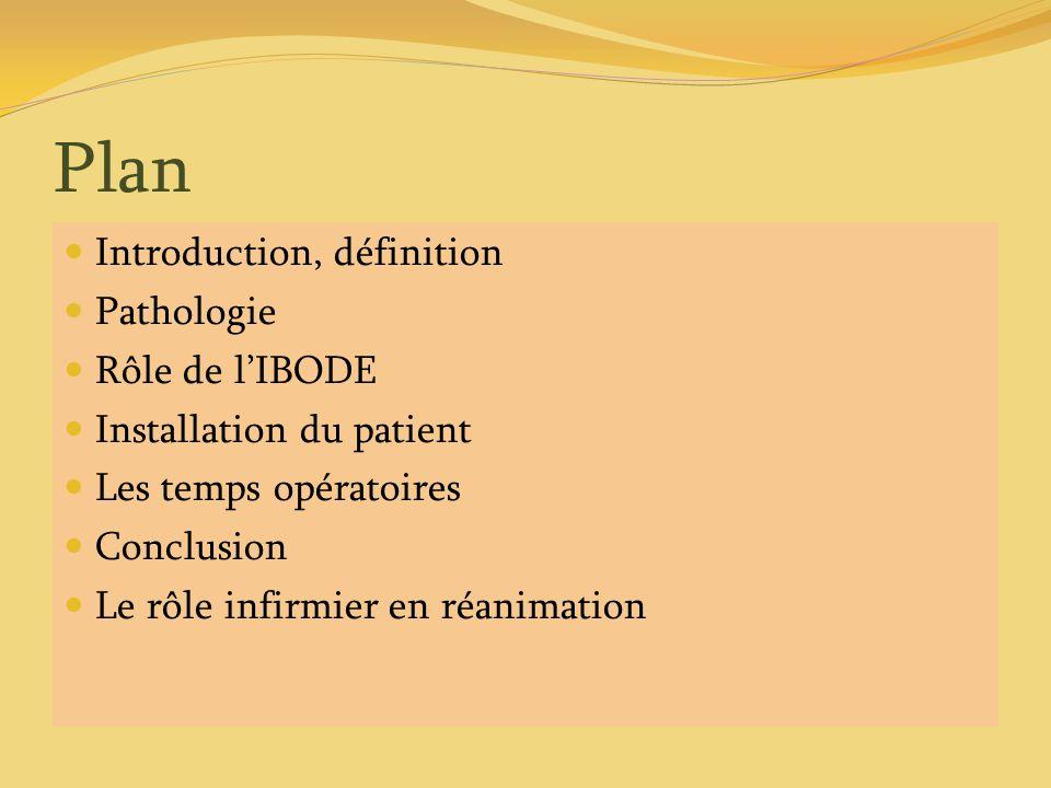Plan Introduction, définition Pathologie Rôle de lIBODE Installation du patient Les temps opératoires Conclusion Le rôle infirmier en réanimation