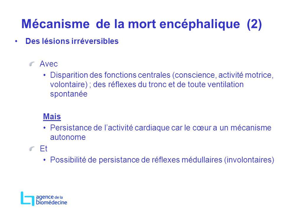 Mécanisme de la mort encéphalique (2) Des lésions irréversibles Avec Disparition des fonctions centrales (conscience, activité motrice, volontaire) ;
