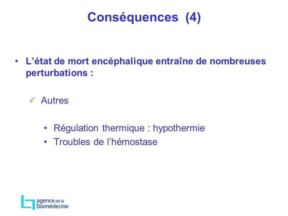 Conséquences (4) Létat de mort encéphalique entraîne de nombreuses perturbations : Autres Régulation thermique : hypothermie Troubles de lhémostase