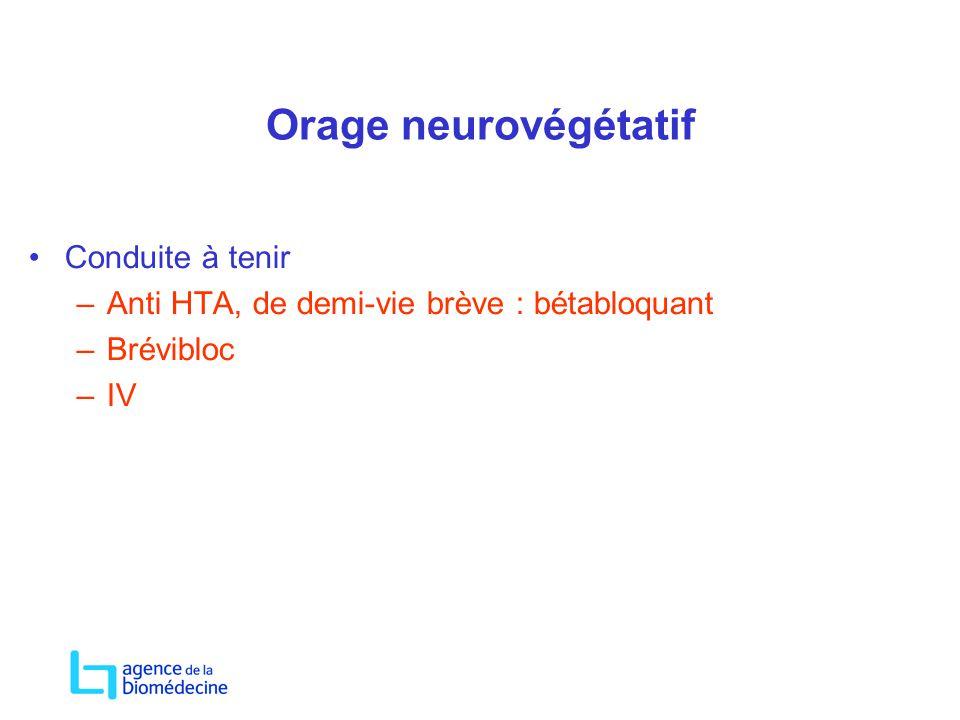Orage neurovégétatif Conduite à tenir –Anti HTA, de demi-vie brève : bétabloquant –Brévibloc –IV