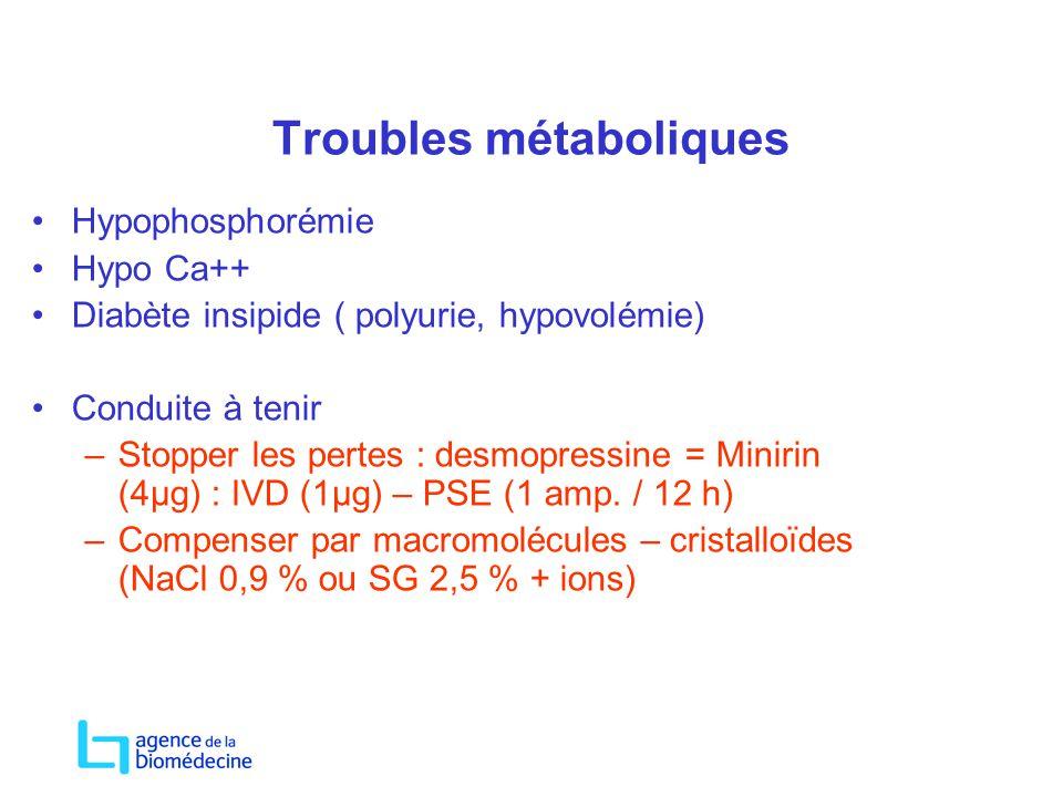 Troubles métaboliques Hypophosphorémie Hypo Ca++ Diabète insipide ( polyurie, hypovolémie) Conduite à tenir –Stopper les pertes : desmopressine = Mini