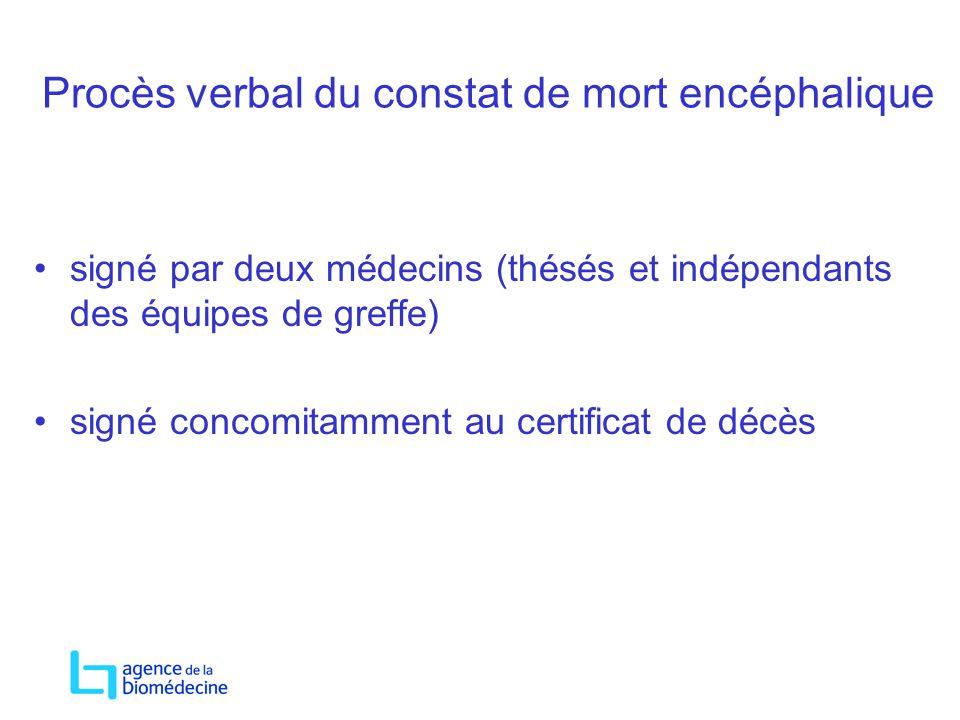 Procès verbal du constat de mort encéphalique signé par deux médecins (thésés et indépendants des équipes de greffe) signé concomitamment au certifica