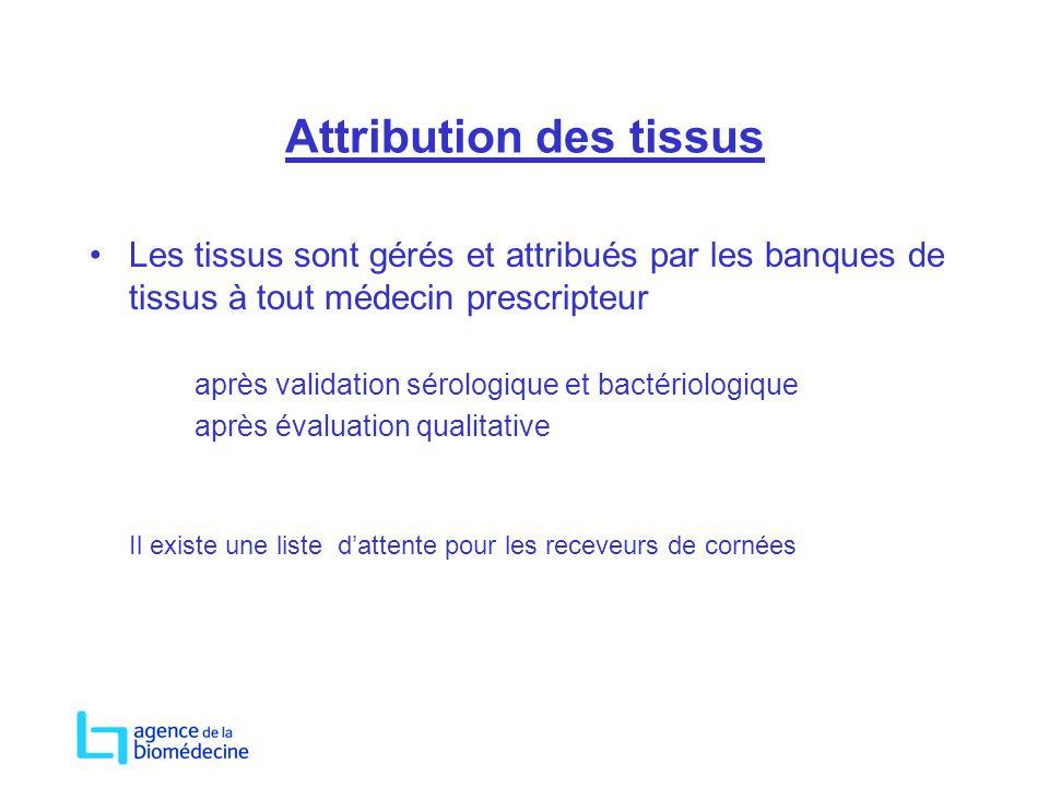 Attribution des tissus Les tissus sont gérés et attribués par les banques de tissus à tout médecin prescripteur après validation sérologique et bactér