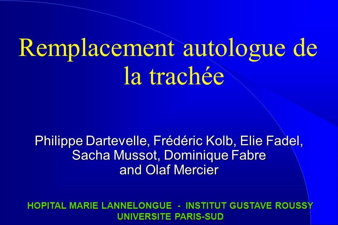 Remplacement autologue de la trachée Philippe Dartevelle, Frédéric Kolb, Elie Fadel, Sacha Mussot, Dominique Fabre and Olaf Mercier HOPITAL MARIE LANN