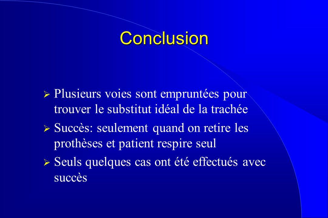Conclusion Plusieurs voies sont empruntées pour trouver le substitut idéal de la trachée Succès: seulement quand on retire les prothèses et patient re