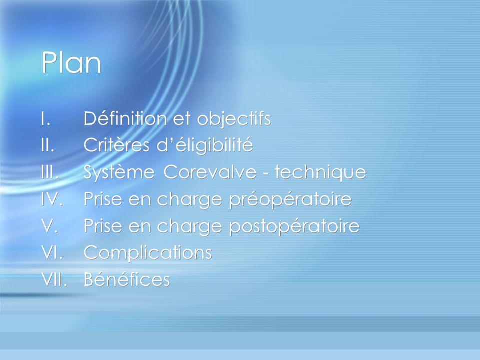 Plan I.Définition et objectifs II.Critères déligibilité III.Système Corevalve - technique IV.Prise en charge préopératoire V.Prise en charge postopéra