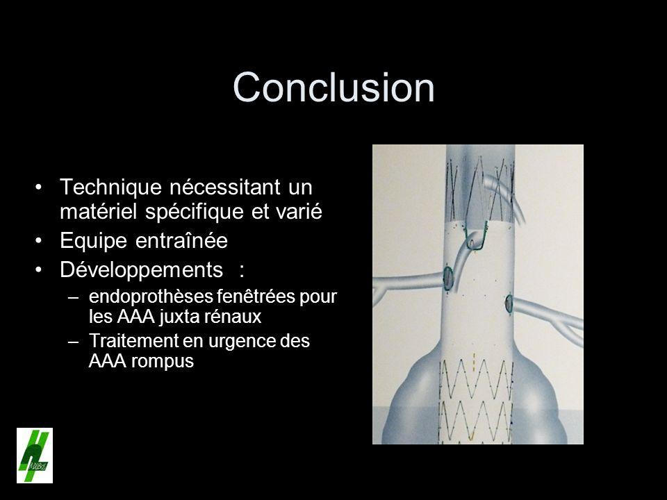 Conclusion Technique nécessitant un matériel spécifique et varié Equipe entraînée Développements : –endoprothèses fenêtrées pour les AAA juxta rénaux