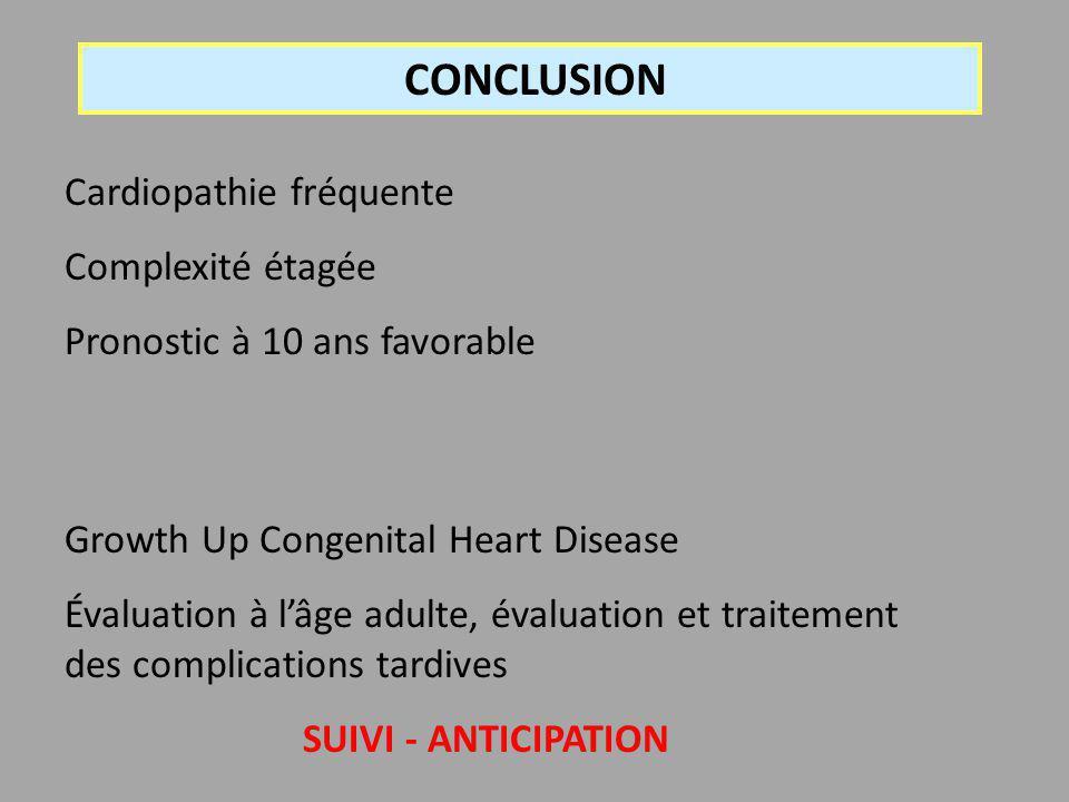 Cardiopathie fréquente Complexité étagée Pronostic à 10 ans favorable Growth Up Congenital Heart Disease Évaluation à lâge adulte, évaluation et trait