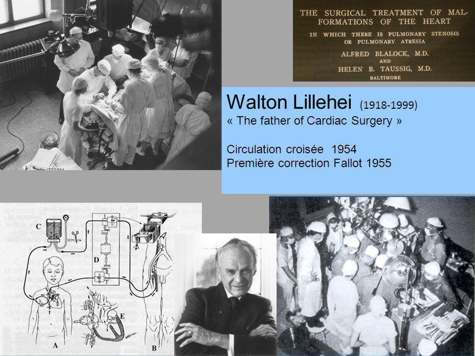Walton Lillehei (1918-1999) « The father of Cardiac Surgery » Circulation croisée 1954 Première correction Fallot 1955