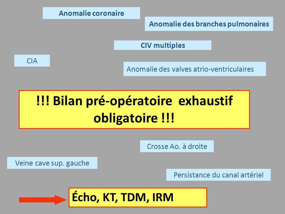!!! Bilan pré-opératoire exhaustif obligatoire !!! Anomalie coronaire CIV multiples Anomalie des branches pulmonaires Persistance du canal artériel CI