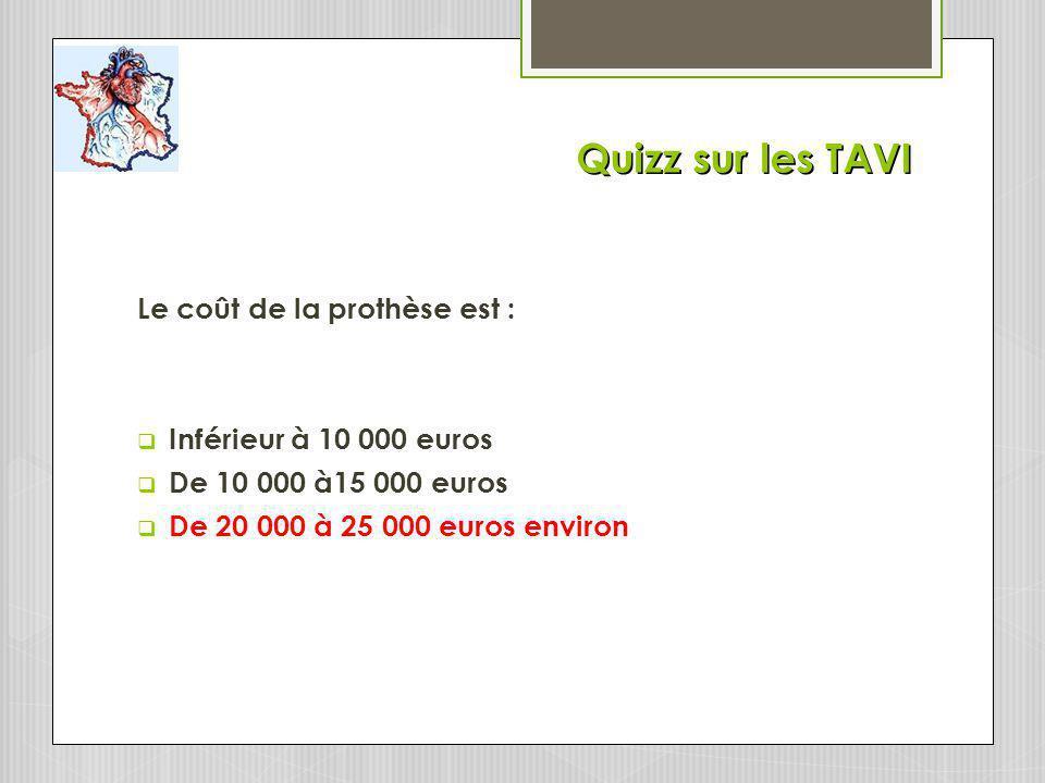 Quizz sur les TAVI Le coût de la prothèse est : Inférieur à 10 000 euros De 10 000 à15 000 euros De 20 000 à 25 000 euros environ
