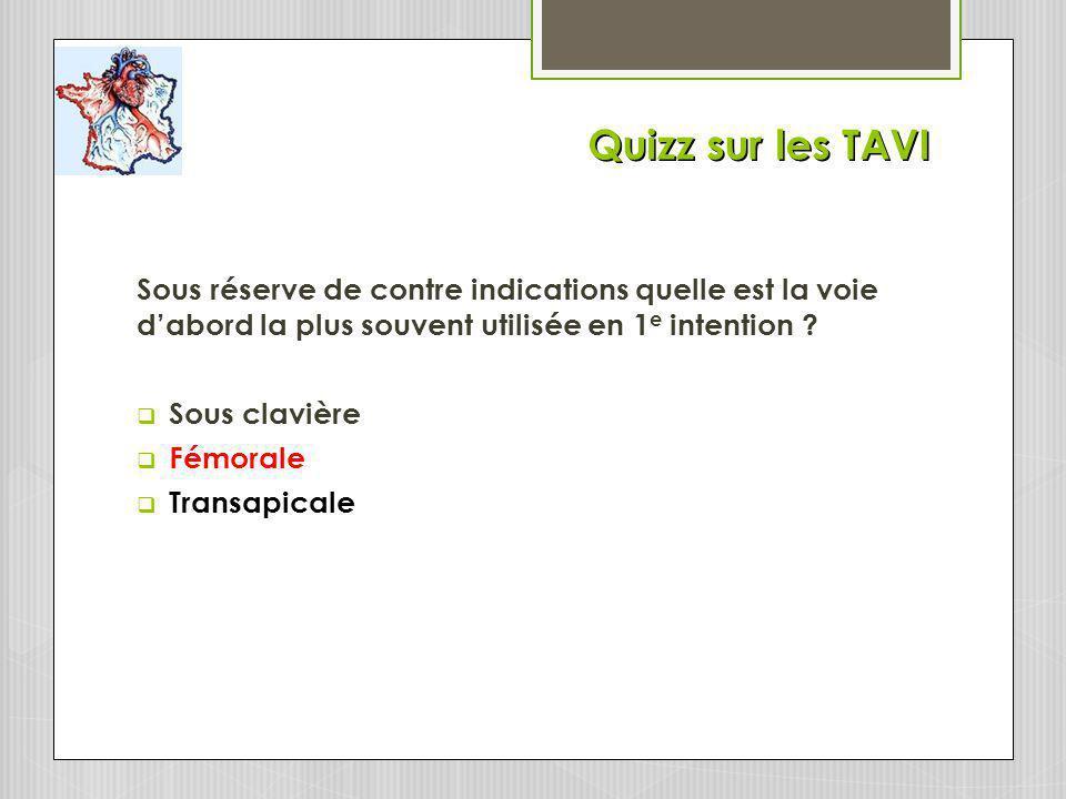 Quizz sur les TAVI Sous réserve de contre indications quelle est la voie dabord la plus souvent utilisée en 1 e intention .