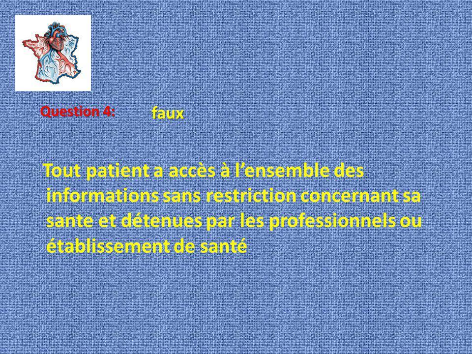 Laccès du patient à son dossier ne peut se faire que par lintermédiaire dun médecin Question 5 : faux