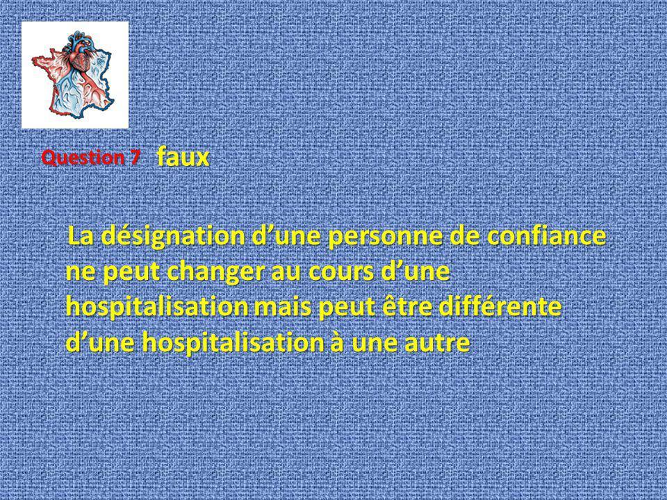La désignation dune personne de confiance ne peut changer au cours dune hospitalisation mais peut être différente dune hospitalisation à une autre La