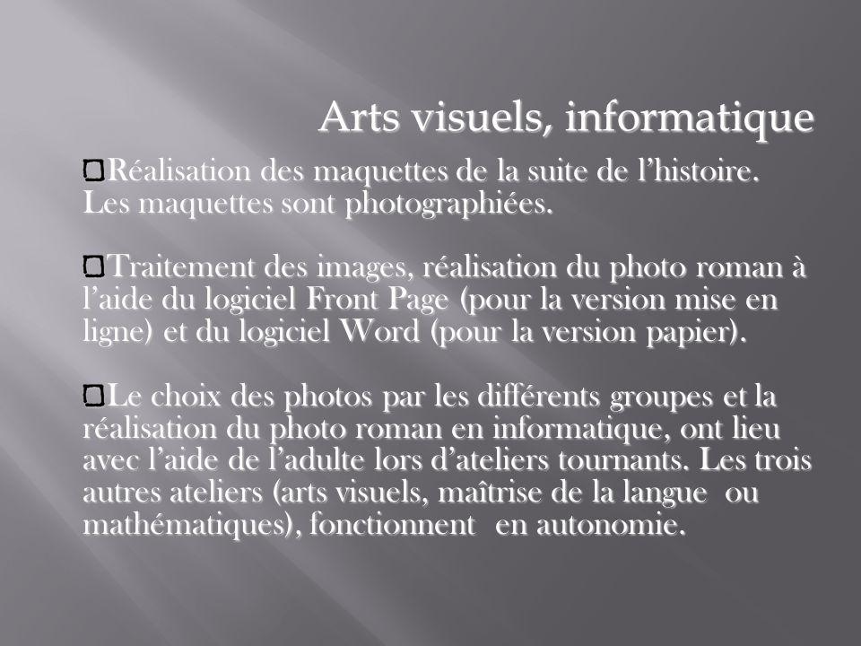 Arts visuels, informatique Réalisation des maquettes de la suite de lhistoire. Les maquettes sont photographiées. Traitement des images, réalisation d