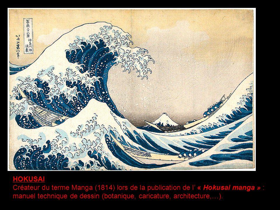 HOKUSAI Créateur du terme Manga (1814) lors de la publication de l « Hokusai manga » : manuel technique de dessin (botanique, caricature, architecture