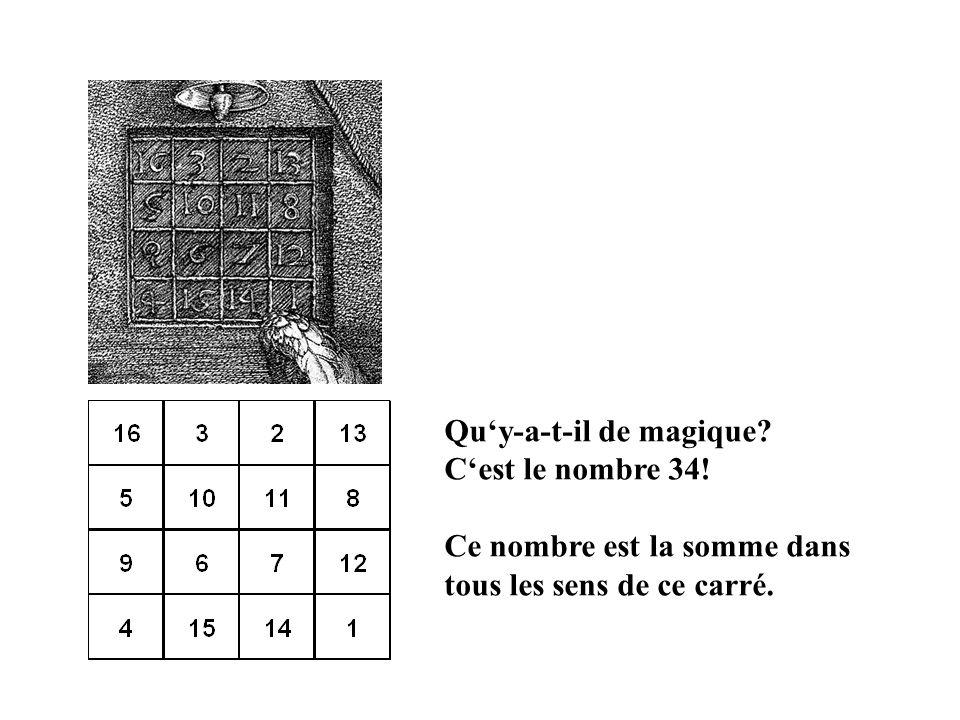 Quy-a-t-il de magique? Cest le nombre 34! Ce nombre est la somme dans tous les sens de ce carré.