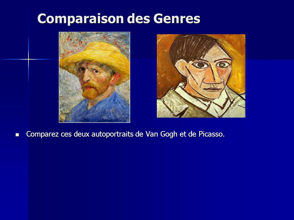 Comparaison des Genres Comparez ces deux autoportraits de Van Gogh et de Picasso. Comparez ces deux autoportraits de Van Gogh et de Picasso.