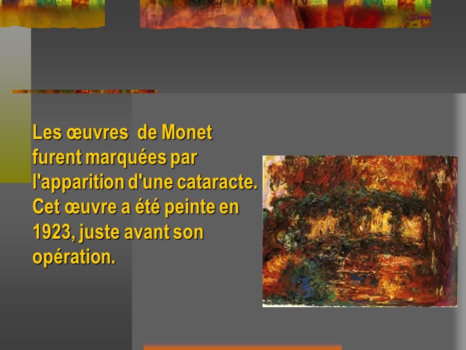 Les œuvres de Monet furent marquées par l'apparition d'une cataracte. Cet œuvre a été peinte en 1923, juste avant son opération.