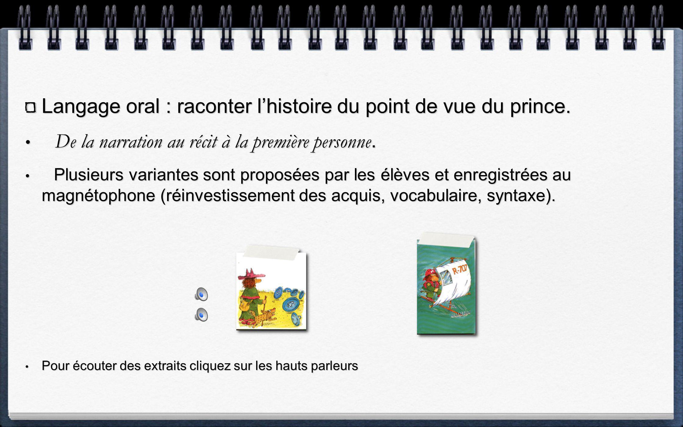 Langage dévocation : Oral collectif. Reconstituer lhistoire à laide des illustrations Reconstituer lhistoire à laide des illustrations
