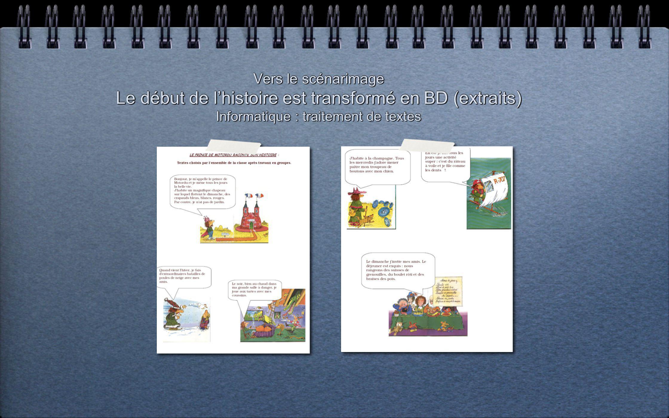 Production de textes : - Par groupes de 2, les élèves complètent les bulles de 3 vignettes en prenant appui sur les illustrations de Pef. (BD : vers l