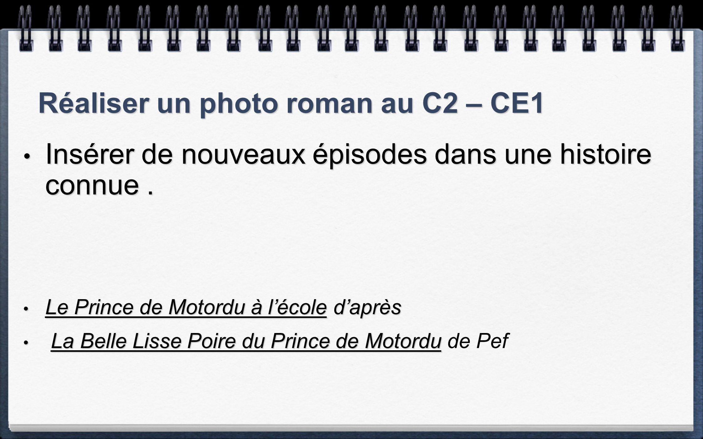 Réaliser un photo roman au C2 – CE1 Insérer de nouveaux épisodes dans une histoire connue.