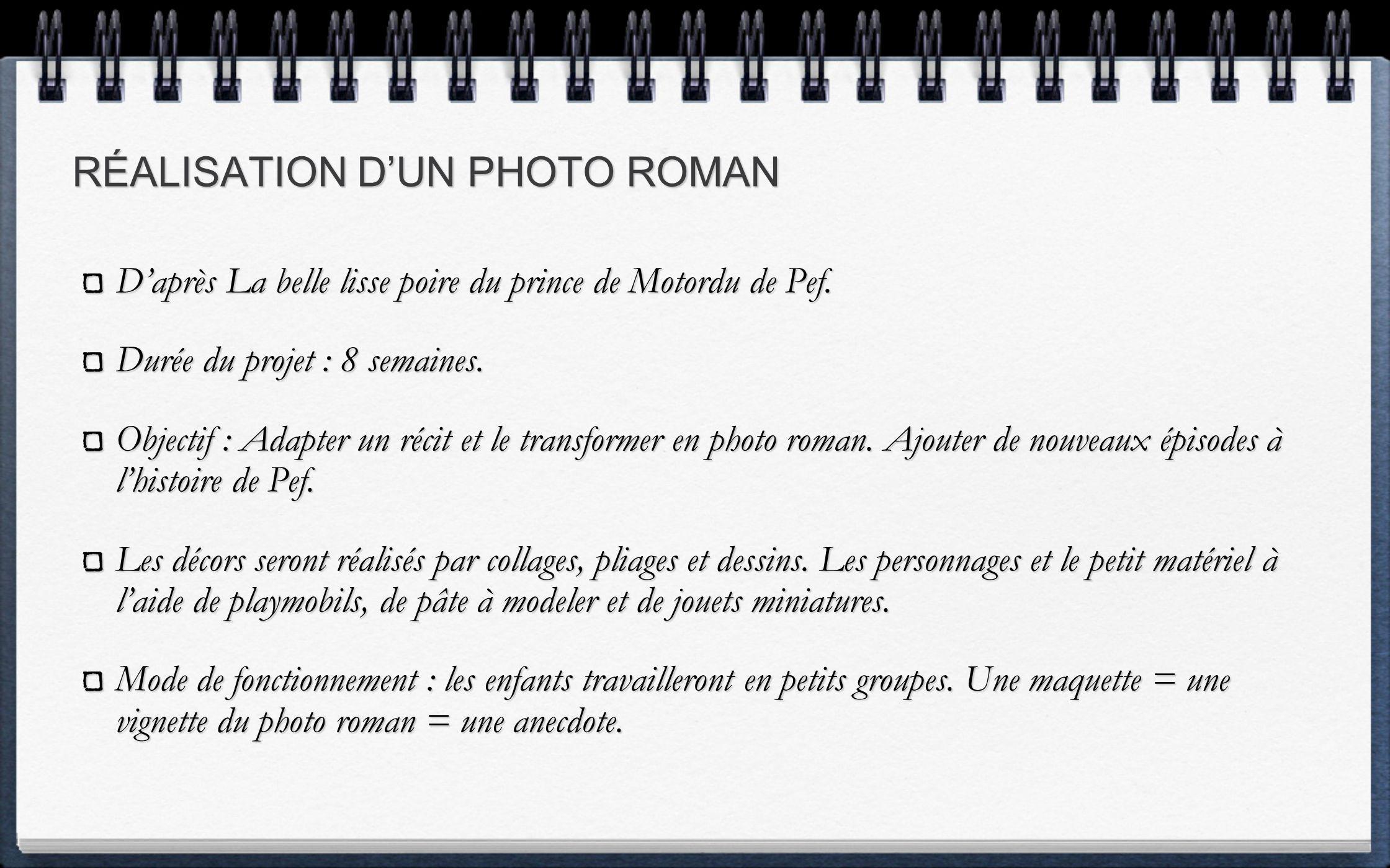 RÉALISATION DUN PHOTO ROMAN Daprès La belle lisse poire du prince de Motordu de Pef.