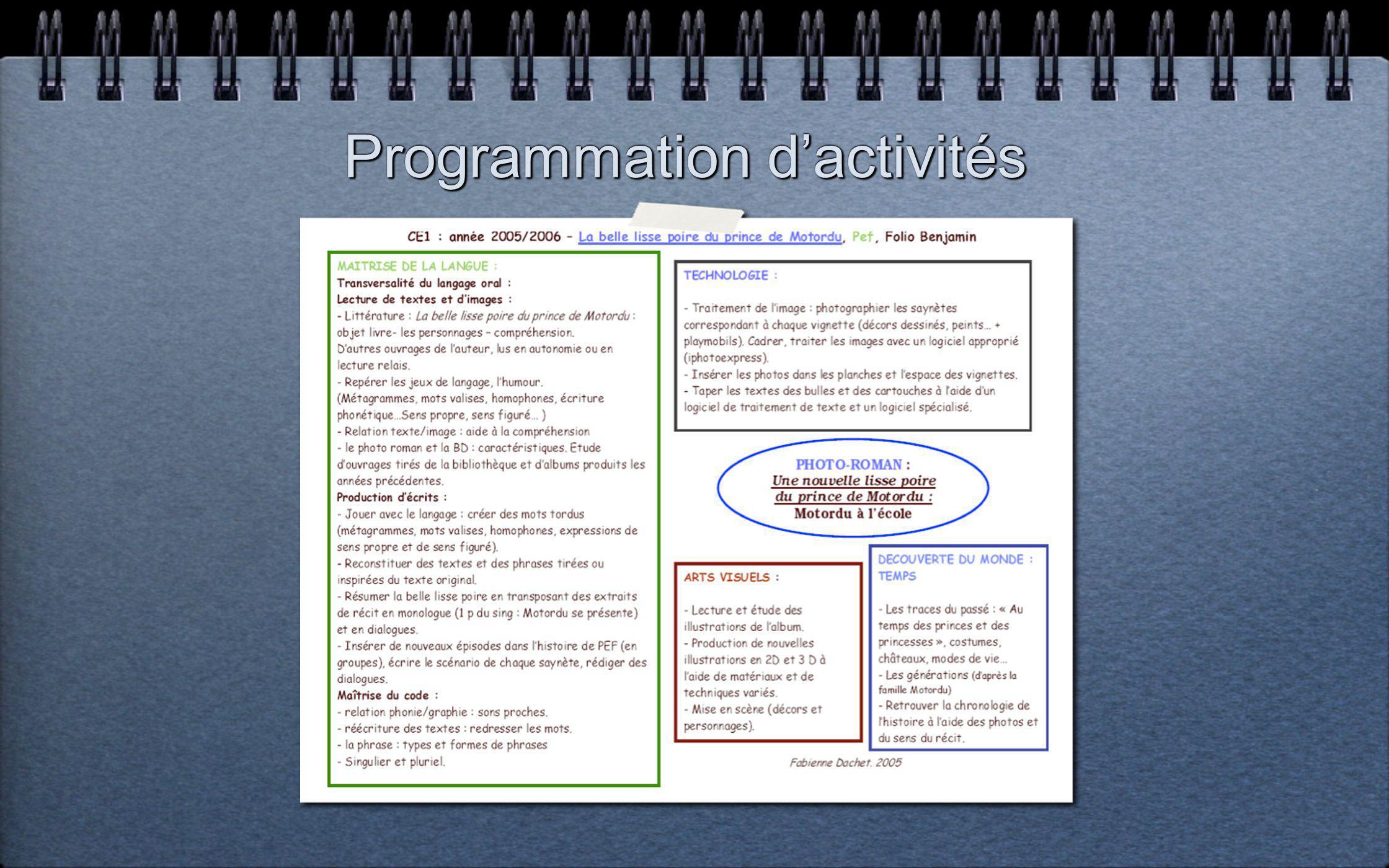 Programmation dactivités
