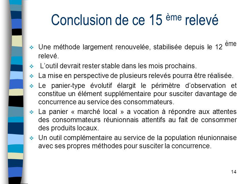 14 Conclusion de ce 15 ème relevé Une méthode largement renouvelée, stabilisée depuis le 12 ème relevé.