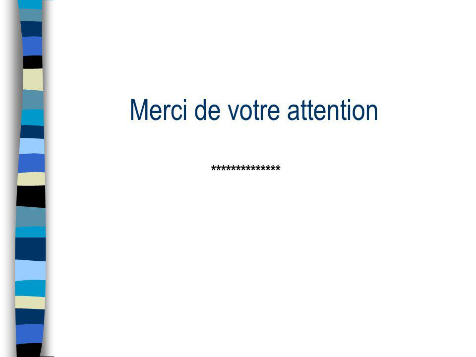 Merci de votre attention **************
