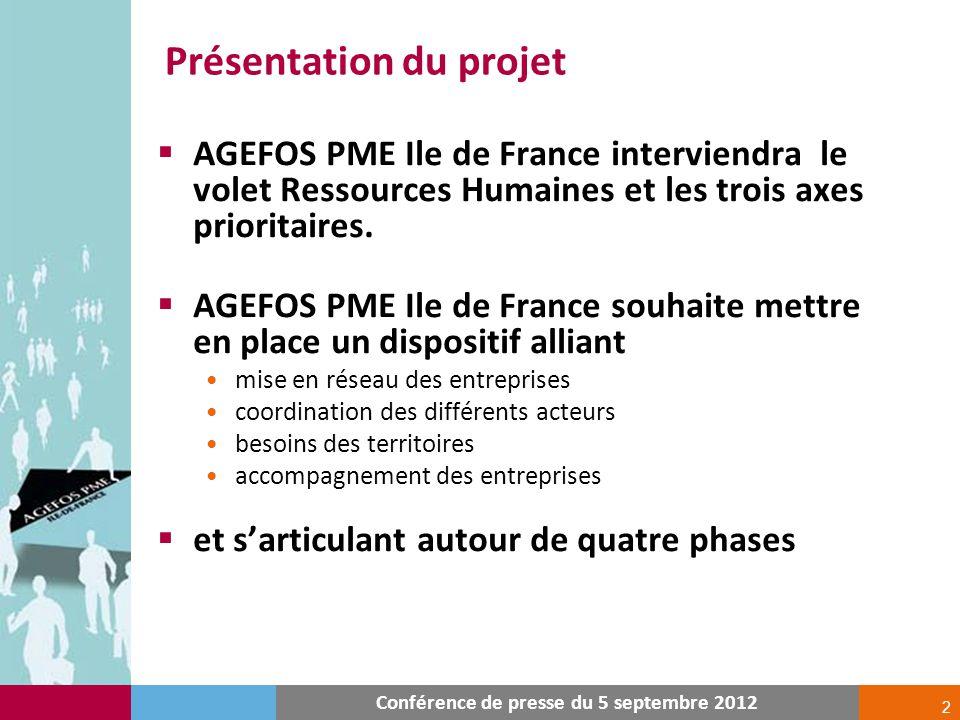 2 Présentation du projet Conférence de presse du 5 septembre 2012 AGEFOS PME Ile de France interviendra le volet Ressources Humaines et les trois axes