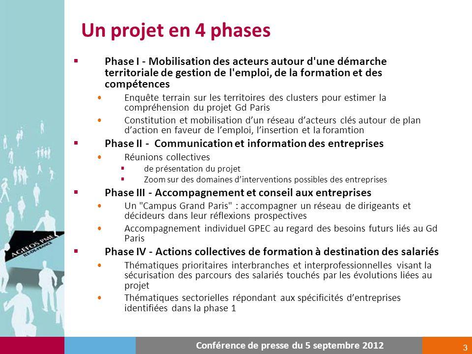 3 Un projet en 4 phases Conférence de presse du 5 septembre 2012 Phase I - Mobilisation des acteurs autour d'une démarche territoriale de gestion de l